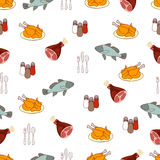 Food vector background, meat and fish. Drawn cartoon multicolored foodstuffs, gustable illustration. For the design of the fabric,. Wallpaper, store food Stock Photography
