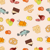 Food vector background, seamless pattern. Drawn cartoon multicolored foodstuffs on a beige . For the design of the fabric, wallpap Stock Photography