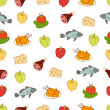 Food vector background, seamless pattern. Drawn cartoon multicolored foodstuffs on a white . For the design of the fabric, wallpap Stock Photos