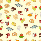 Food vector background, seamless pattern. Drawn cartoon multicolored foodstuffs on a yellow . For the design of the fabric, wallpa Royalty Free Stock Images