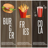 Fast food banners with burger,fried potatoes and cola Royalty Free Stock Photo