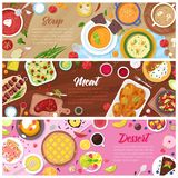 Food vector cooked meal soup meat and sweet dessert cake with fruits in restaurant menu illustration set of pea-soup in. Bowl and beefsteak on plate isolated on Royalty Free Stock Photo
