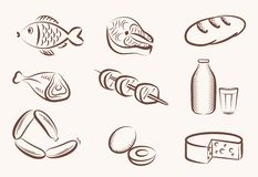 Food vector hand drawn icons stock illustration