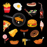 Food vector icon set Stock Image