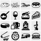 Food vector icons set on gray. Stock Image