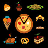 Food vector icons set Stock Images