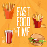 Food vector illustration with burger,fried potatoes and col. Fast food vector illustration with burger,fried potatoes and cola Stock Photos