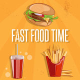 Food vector illustration with burger,fried potatoes and col. Fast food vector illustration with burger,fried potatoes and cola Royalty Free Stock Photo