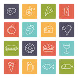 Food vector line icons set. Collection of 16 food line icons in rounded squares vector illustration stock illustration