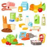 Food vector meal assortment vegetables or fruits and fish or sausages from supermarket or grocery illustration set of. Pastry and milk or seafood products and vector illustration