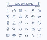 Food vector mini icons set. Thin line outline 24 x 24 Grid.Pixel Perfect. Eps 10 Stock Photo