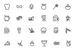 Food Vector Outline Icons 5 Royalty Free Stock Images