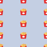 Food vector. Seamless pattern fast food. Fries Royalty Free Stock Image