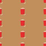 Food vector. Seamless pattern fast food. Popcorn Stock Images