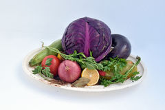 The food for vegans. The red cabbage on a plate as a vegan dish Stock Image