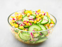 Food vegetable salad with corn and cucumbers healthy green meal Royalty Free Stock Image