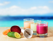 Vegetable smoothie on wooden table Stock Image