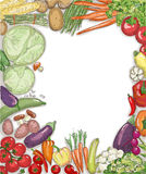Food vegetables frame against white backdrop. Royalty Free Stock Photo