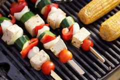 Food: Vegetarian Barbecue, vegetables and tofu kebabs Stock Photo