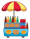 Food vendor with drinks and pretzle Stock Photo