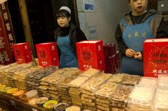 Food vendor in Muslim quarter Xi`an China royalty free stock image