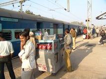 Snack vendor on Railway platform Stock Images