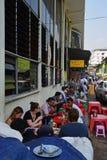 Food vendor stall at the side of the main building of Bogyoke Market at Bo Gyoke Road, Yangon, Myanmar Stock Images