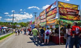 Food Vendors at the Vinton Dogwood Festival. Vinton, VA – April 28th: Hot food Vendors at the Annual Dogwood Festival located in Vinton, VA on April 28th, 2018 Royalty Free Stock Images