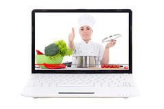 Food video blog concept - laptop with video blogger on screen is Royalty Free Stock Images