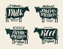 Food, vintage label set. Cow, bull, beef, milk, farm animals, dairy products icons or logos. Lettering, calligraphy Royalty Free Stock Image