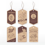 Food vintage labels with stripe Royalty Free Stock Images