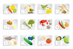 Food vitamin. A vector illustration of different food grouped by vitamins Stock Photo
