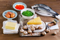 Food of vitamin D. Royalty Free Stock Images