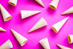 Food, Waffle Cones on Pink Background, Horizontal Top View, Wallpaper Royalty Free Stock Photo