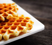 Waffles on a white square plate Royalty Free Stock Photography