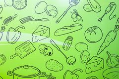 Food wallpaper on green background. Kitchen pattern. Design for room. Fun and modern stock illustration