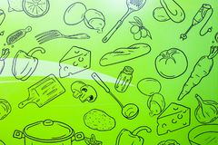 Food wallpaper on green background. Kitchen pattern. Design for room. Fun and modern royalty free illustration