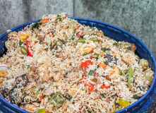 Food waste in blue rubbish bin Stock Photos