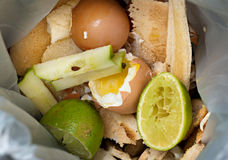 Food waste inside food recycling bag. Food recycling bag that contains waste food. The food in the picture is eggs, egg shells, squeezed lime, lime, apple core stock photography