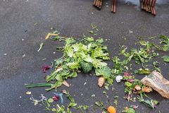 Food waste, leftovers on a floor at street food market. Organic waste for compost Stock Images