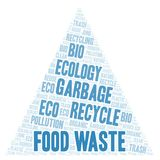 Food Waste word cloud. Wordcloud made with text only stock illustration