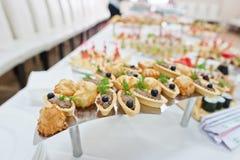 Food on wedding reception. Table stock photo