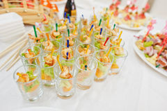 Food on wedding reception. Table and food on wedding reception royalty free stock photo