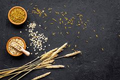 Food which rich with slow carbohydrates. Oatmeal and oat in bowls near sprigs of wheat on black background top view copy. Food which rich with slow carbohydrates royalty free stock photo