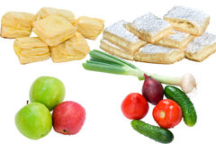 Food on white. Vegetables, fruits and pastry on white background stock images