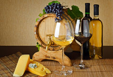 Wine and cheese on a table Royalty Free Stock Photo