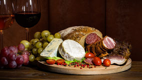 Food. And wine in the spotlight royalty free stock images
