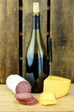 Food Wine Vert. Wine Cheese and Meat on Wood Royalty Free Stock Images