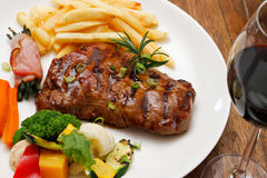 Food With Red Wine Stock Photo