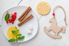 Food on the wooden background Stock Images